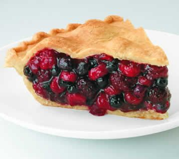 A Picture of a slice of wonderful wild berry pie made of blueberry, blackberry, raspberry, and cranberry, all fruits which are rich in anti-oxidants.