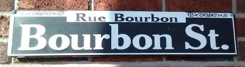 A sign for Bourbon Street in New Orleans, Louisiana.