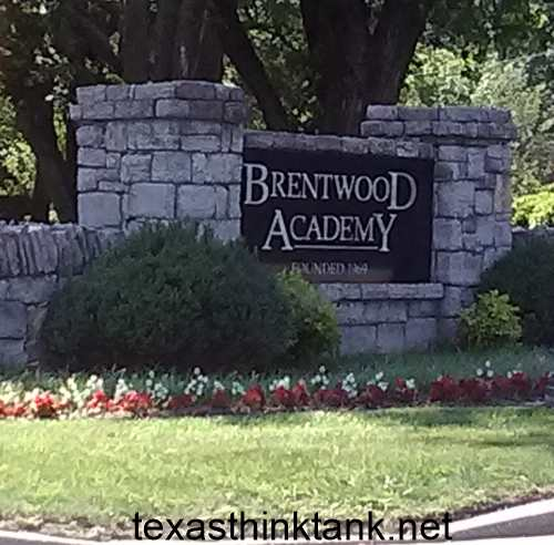 The entrance to Brentwood Academy on Granny White Pike in Brentwood, Tennessee, a suburb just south of Nashville.
