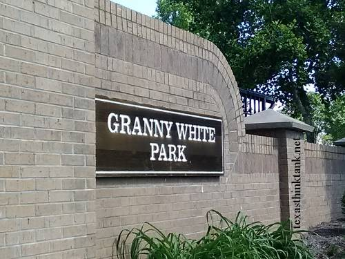 The sign at the entrance of Granny hite Park on Granny White Pike in Brentwood, Tennessee, in lovely Davidson County.