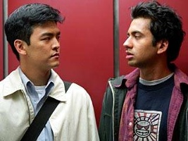 Pic of the stars of Harold and Kumar, including John Cho, the actor of Korean heritage.