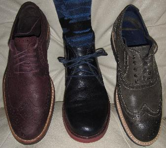 The Cole Haans in my closet in 2014...Morris Wingtip Oxford in Olive Green, Chukka Boot in Navy Blue, and Jayhawker Wingtip Oxford II in Cordovan.