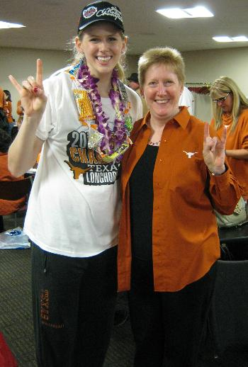 This is my high school friend Kathy London of Austin, TX, with University of Texas volleyball and basketball player Sara Hattis, photo taken in Louisville, KY after Texas won the NCAA championship in 2012.