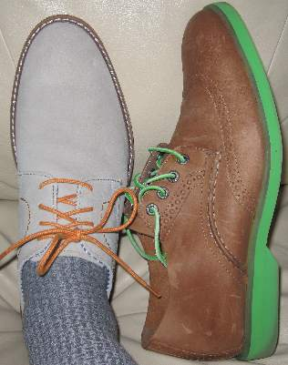 Shoes in lighter hues, Ben Sherman Flynn oxfords in off white white with three laces bought at Off Broadway Shoes in Grapevine, TX, and Sperry Top Siders in nubuck with lime green soles and leather laces bought at the outlet mall in Grand Prairie, TX.