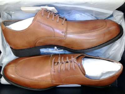 Pic of Cole Haan slit toe dress shoes in British Tan, the model Collen Apron Ox II.