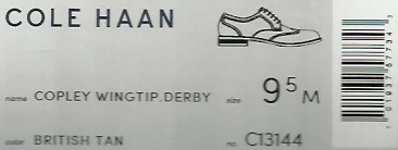 The shoe box label from a pair of men's Cole Haan brand Coley Wingtip Derby shoes in the color of British Tan which I bought from Amazon.com.