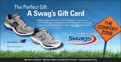 A Holiday Season ad by Swag Sports Shoes of Louisville, KY.  Owned by Erwin 'Swag' Hartel, running coach and organizer for the Iroquois Hill Runners.