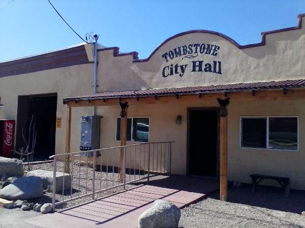 Pic of the Tombstone City Hall on Allen Street in the town too tough to die.
