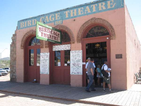 Here's the Bird Cage Theater in Tombstone, Arizona at 535 E. Allen Street.  Formerly a brothel and gambling hall, it's said to be haunted.