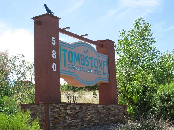 Sign at the entrance of the Tombstone Grand Hotel on West Randolph Way.