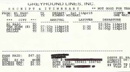My Greyhound Bus Lines itinerary from my trip from El Paso, TX to Fort Worth, TX.