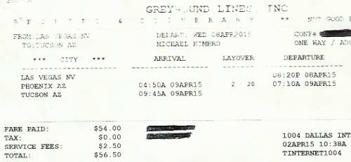 Greyhound Bus Lines Receipt & Voucher for my bus trip from Las Vegas, NV to Tucson, AZ.