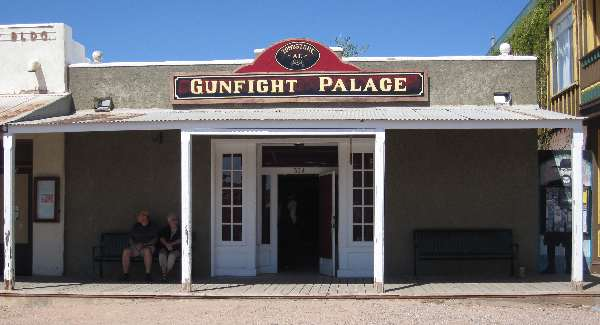 Photo of Tombstone's Gunfight Palace which hosts gunfight reenactments at 524 Allen Street.