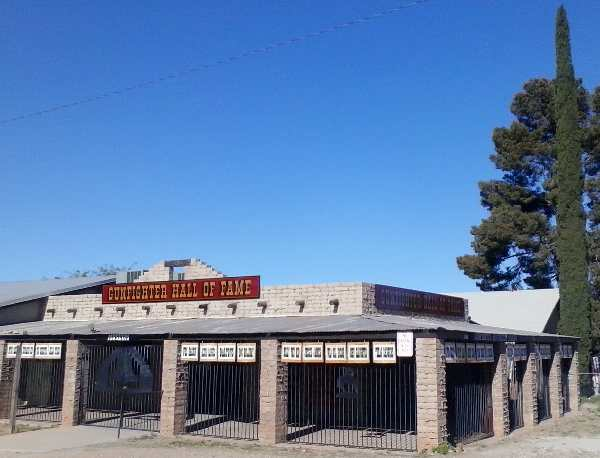 Photo of the Gunfighter Hall of Fame on Allen Street in Tombstone, AZ, a museum which celebrates those in the Old West who lived and died by their handguns, usually a revolver.