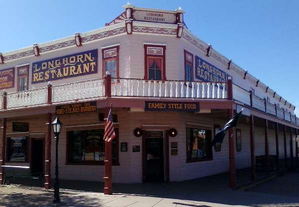 "Photo of the Longhorn Restaurant in Tombstone, Arizona, which serves ""family style food""."