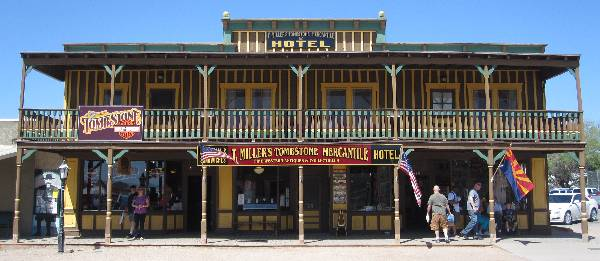 Photo of Tombstone Harley-Davidson and T. Miller's tombstone Mercantile and Hotel, which sells antiques and collectibles from the Old West from it's location at 530 E. Allen Street, Tombstone, Arizona 85638.