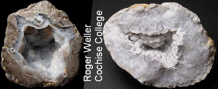 Rockhounding photos of quartz geodes with chalcedony filling, courtesy of Roger Weller of the Cochise College Geology Department in Sierra Vista, Arizona, the rockhounding center of the Southwest USA.