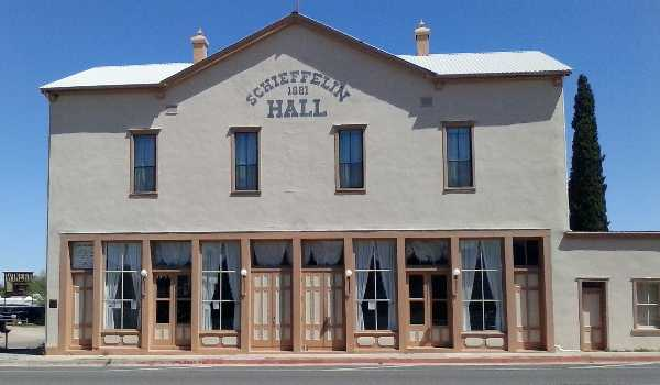 Photo of Schieffelin Hall on Fremont Street in Tombstone, Arizona, built in 1881.
