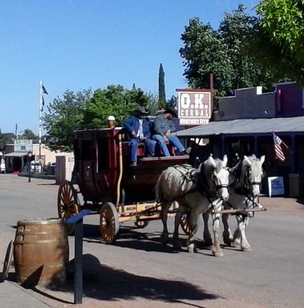 Pic of the stage coach in Tombstone, Arizona in early April 2015, with the famous OK Corral and OK Cafe sitting in the background.