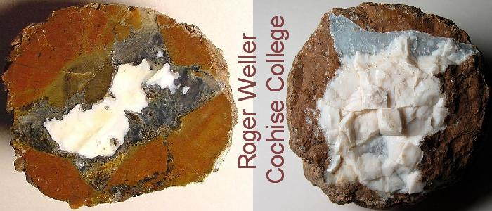 A rockhounding photo of polished Arizona thundereggs with an opal feature provided by Roger Weller of the Geology Department of the Sierra Vista Campus of Cochise College.