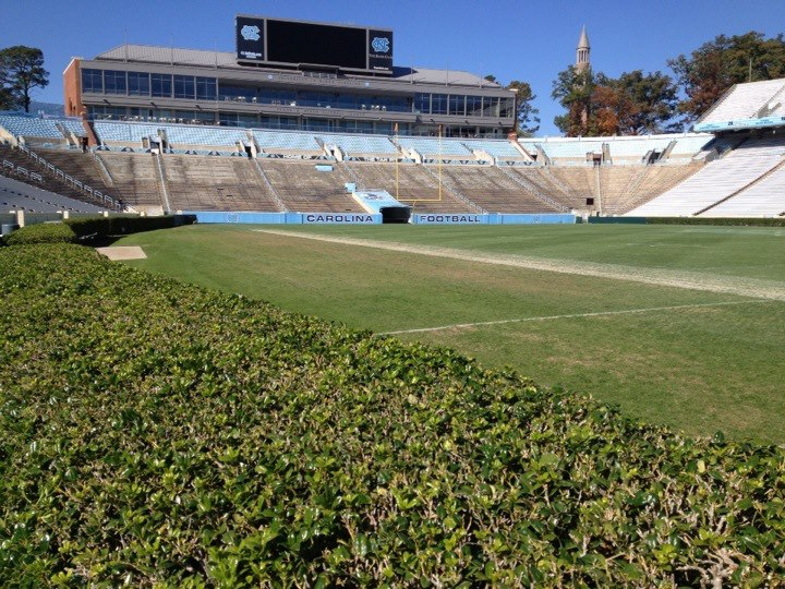 A hedge level view of UNC's Kenan Memorial Stadium in Chapel Hill, North Carolina, photo by Ryan Kantor.